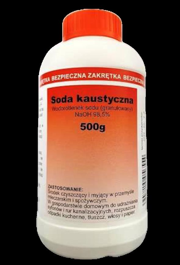 """zdjęcie przedstawiające produkt """"m2 Soda kaustyczna"""", soda kaustyczna butelka 500g"""